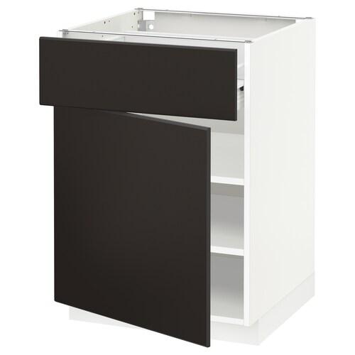 METOD / FÖRVARA base cabinet with drawer/door white/Kungsbacka anthracite 60.0 cm 61.6 cm 88.0 cm 60.0 cm 80.0 cm