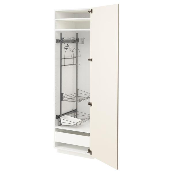 METOD / FÖRVARA high cabinet with cleaning interior white/Hittarp off-white 60.0 cm 61.6 cm 208.0 cm 60.0 cm 200.0 cm