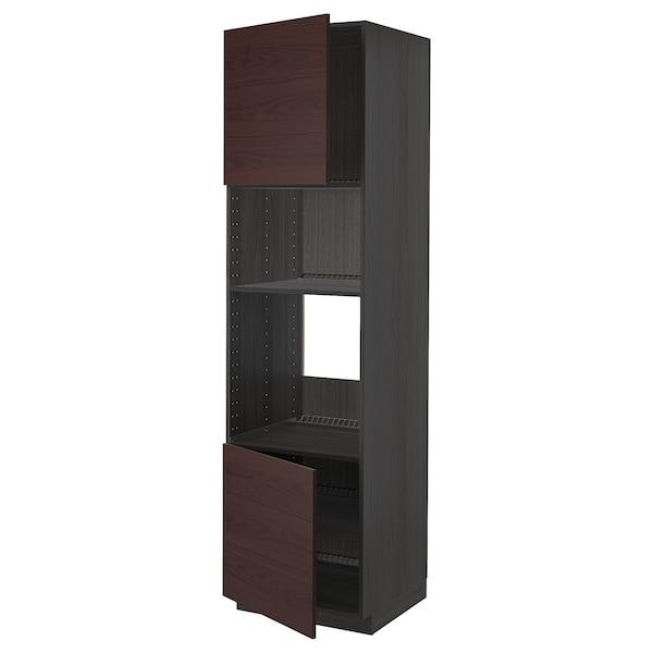 METOD Hi cb f oven/micro w 2 drs/shelves, black Askersund/dark brown ash effect, 60x60x220 cm
