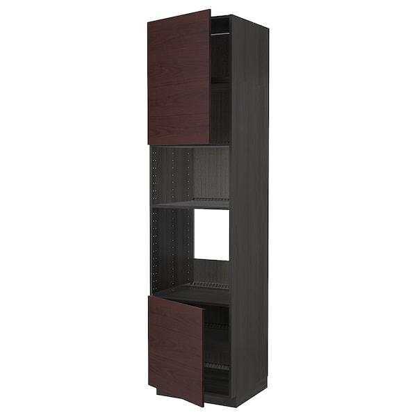 METOD Hi cb f oven/micro w 2 drs/shelves, black Askersund/dark brown ash effect, 60x60x240 cm