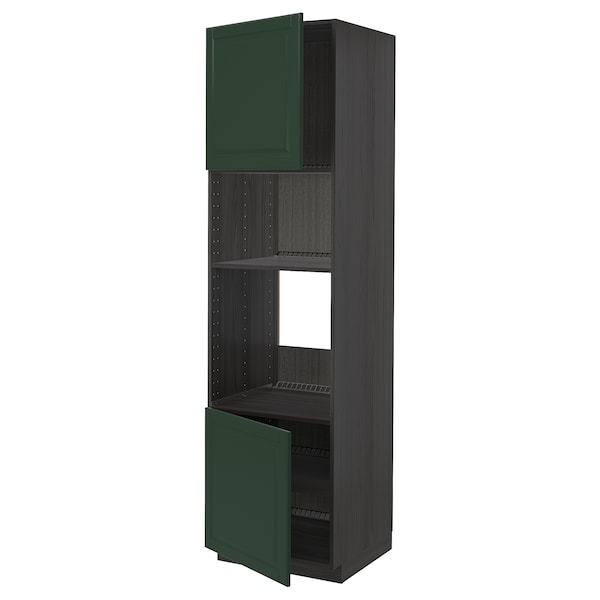 METOD Hi cb f oven/micro w 2 drs/shelves, black/Bodbyn dark green, 60x60x220 cm
