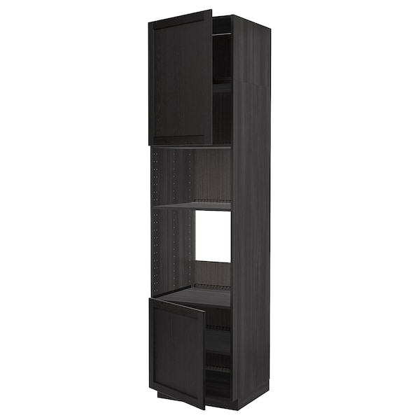 METOD Hi cb f oven/micro w 2 drs/shelves, black/Lerhyttan black stained, 60x60x240 cm