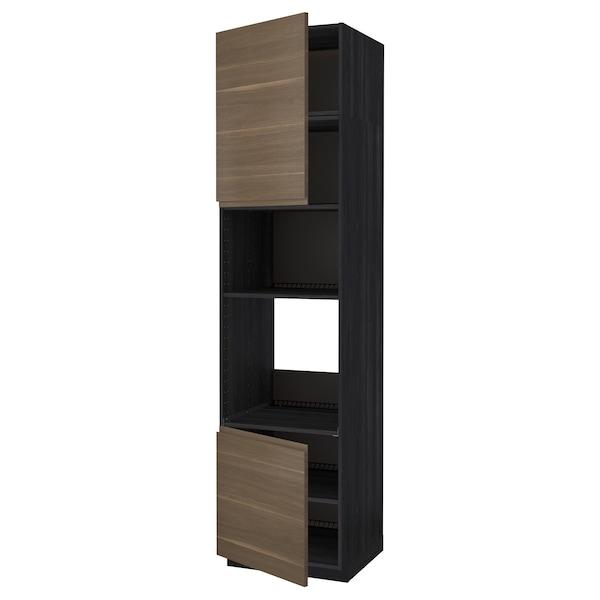 METOD Hi cb f oven/micro w 2 drs/shelves, black/Voxtorp walnut effect, 60x60x240 cm