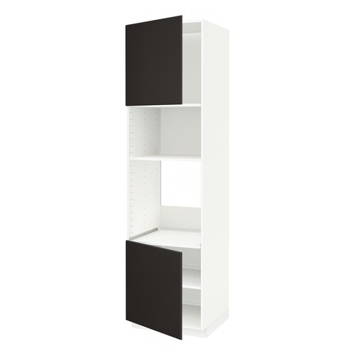 METOD hi cb f oven/micro w 2 drs/shelves white/Kungsbacka anthracite 60.0 cm 61.6 cm 228.0 cm 60.0 cm 220.0 cm