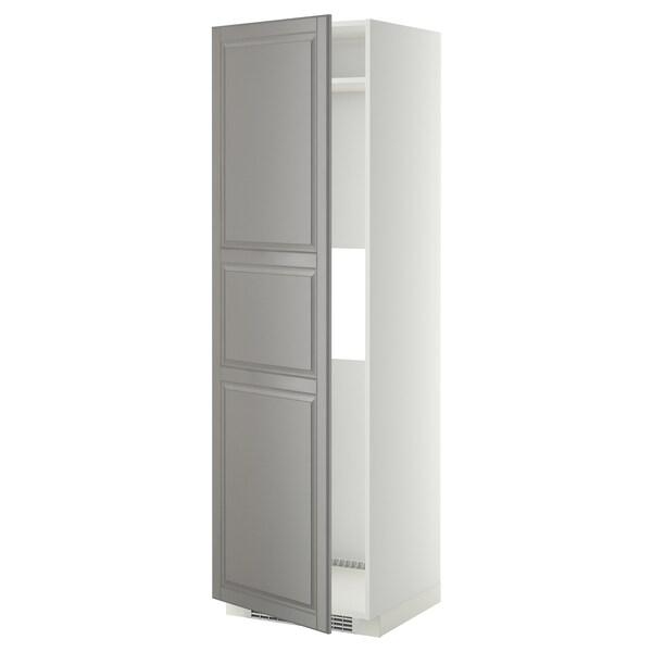 METOD خ. عالية لثلاجة أو فريزر مع باب, أبيض/Bodbyn رمادي, 60x60x200 سم