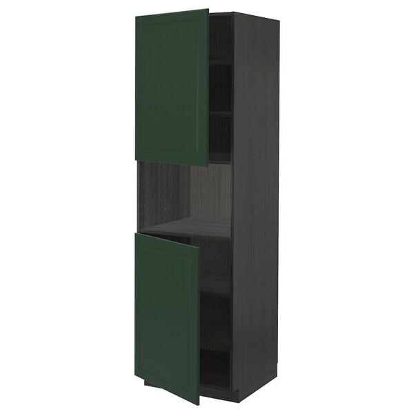 METOD High cab f micro w 2 doors/shelves, black/Bodbyn dark green, 60x60x200 cm