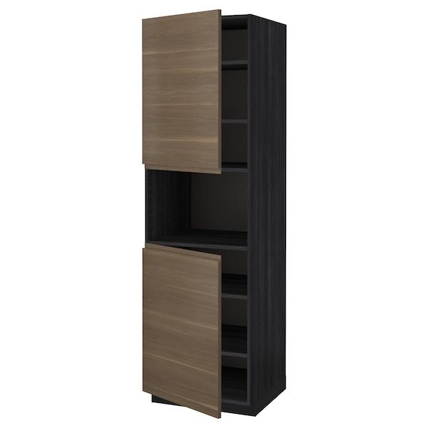 METOD High cab f micro w 2 doors/shelves, black/Voxtorp walnut effect, 60x60x200 cm