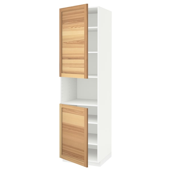 METOD High cab f micro w 2 doors/shelves, white/Torhamn ash, 60x60x220 cm