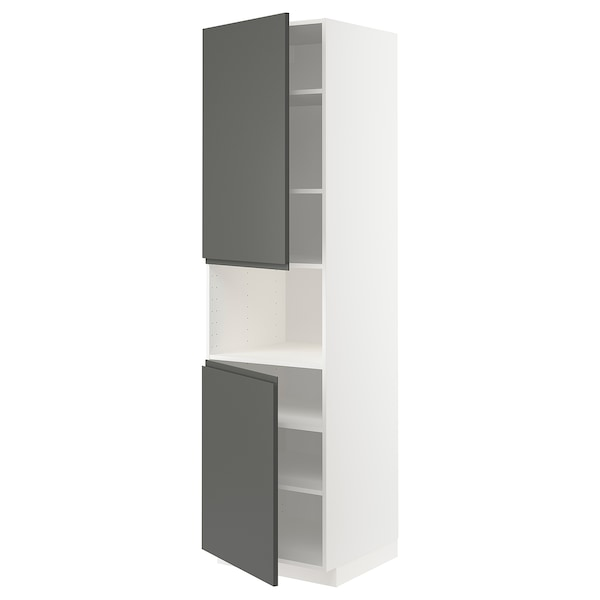 METOD High cab f micro w 2 doors/shelves, white/Voxtorp dark grey, 60x60x220 cm