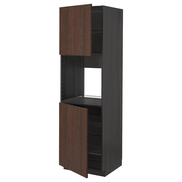 METOD خزانة عالية لفرن مع بابين/أرفف, أسود/Sinarp بني, 60x60x200 سم