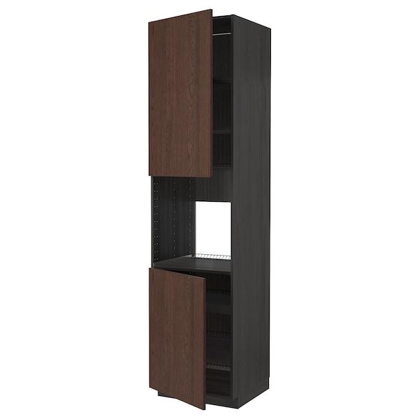 METOD خزانة عالية لفرن مع بابين/أرفف, أسود/Sinarp بني, 60x60x240 سم