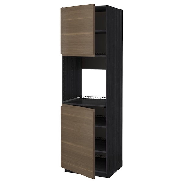 METOD خزانة عالية لفرن مع بابين/أرفف, أسود/Voxtorp شكل خشب الجوز, 60x60x200 سم