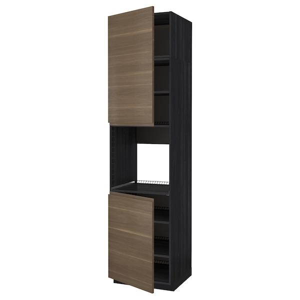 METOD خزانة عالية لفرن مع بابين/أرفف, أسود/Voxtorp شكل خشب الجوز, 60x60x240 سم