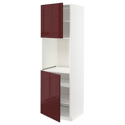 METOD High cab f oven w 2 doors/shelves, white Kallarp/high-gloss dark red-brown, 60x60x200 cm
