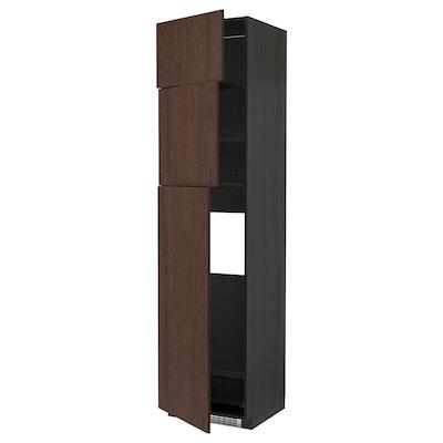 METOD High cab for fridge with 3 doors, black/Sinarp brown, 60x60x240 cm