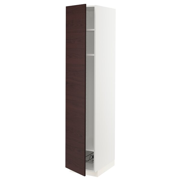 METOD High cabinet w shelves/wire basket, white Askersund/dark brown ash effect, 40x60x200 cm