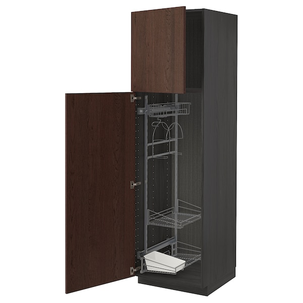 METOD خزانة مرتفعة مع أرفف مواد نظافة, أسود/Sinarp بني, 60x60x200 سم