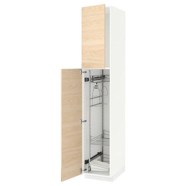 METOD خزانة مرتفعة مع أرفف مواد نظافة, أبيض/Askersund مظهر دردار خفيف, 40x60x220 سم