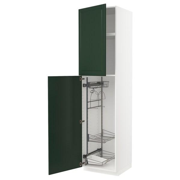 METOD خزانة مرتفعة مع أرفف مواد نظافة, أبيض/Bodbyn أخضر غامق, 60x60x240 سم