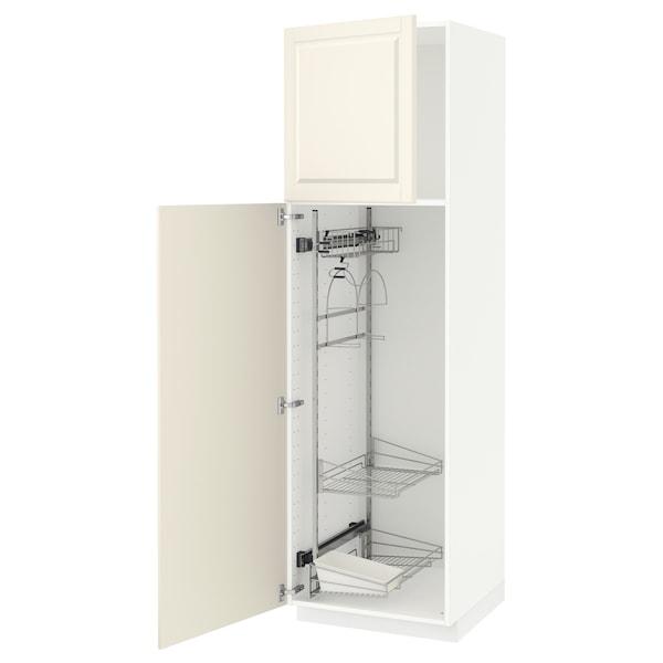 METOD خزانة مرتفعة مع أرفف مواد نظافة, أبيض/Bodbyn أبيض-عاجي, 60x60x200 سم