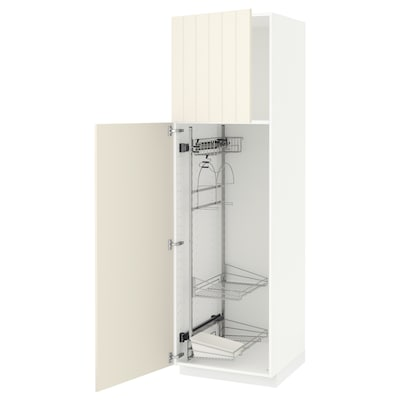 METOD خزانة مرتفعة مع أرفف مواد نظافة, أبيض/Hittarp أبيض-عاجي, 60x60x200 سم