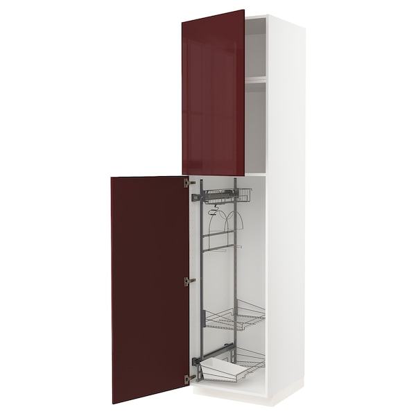 METOD High cabinet with cleaning interior, white Kallarp/high-gloss dark red-brown, 60x60x240 cm