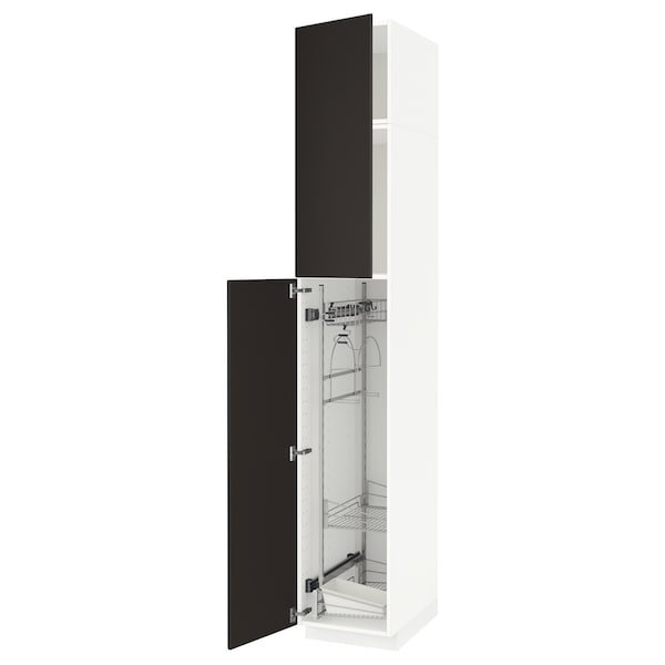 METOD High cabinet with cleaning interior, white/Kungsbacka anthracite, 40x60x240 cm