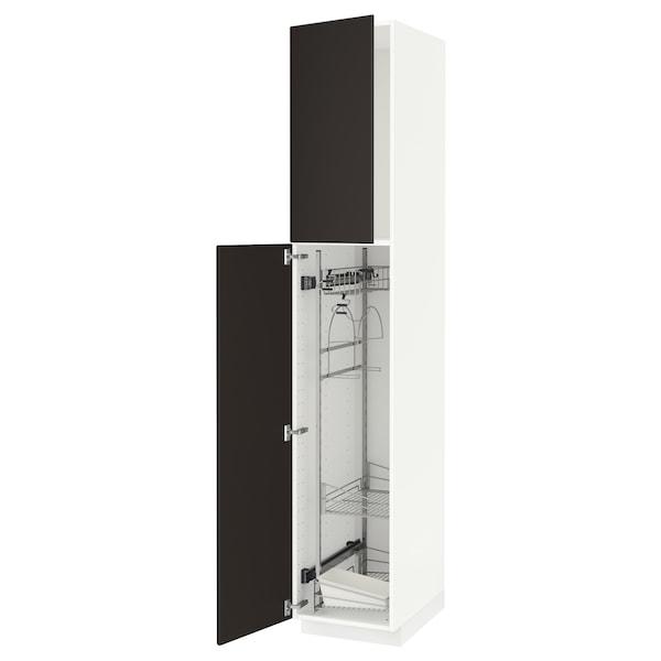 METOD خزانة مرتفعة مع أرفف مواد نظافة, أبيض/Kungsbacka فحمي, 40x60x220 سم