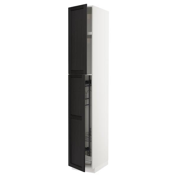 METOD خزانة مرتفعة مع أرفف مواد نظافة, أبيض/Lerhyttan صباغ أسود, 40x60x240 سم