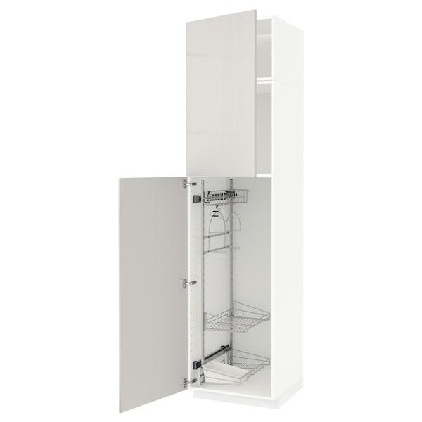 METOD خزانة مرتفعة مع أرفف مواد نظافة, أبيض/Ringhult رمادي فاتح, 60x60x240 سم