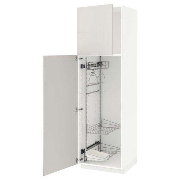 METOD خزانة مرتفعة مع أرفف مواد نظافة, أبيض/Ringhult رمادي فاتح, 60x60x200 سم