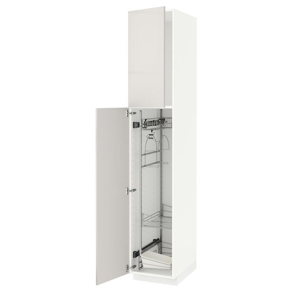 METOD خزانة مرتفعة مع أرفف مواد نظافة, أبيض/Ringhult رمادي فاتح, 40x60x220 سم