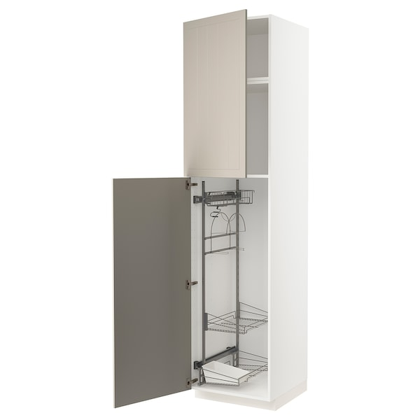 METOD خزانة مرتفعة مع أرفف مواد نظافة, أبيض/Stensund بيج, 60x60x240 سم