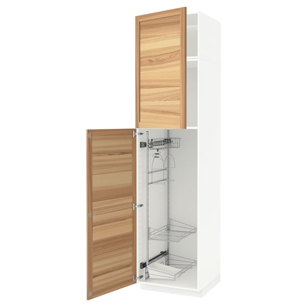 METOD خزانة مرتفعة مع أرفف مواد نظافة, أبيض/Torhamn رماد, 60x60x240 سم