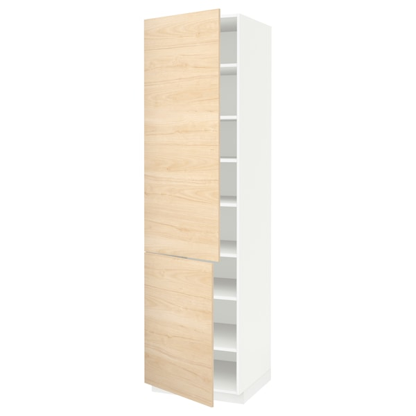 METOD High cabinet with shelves/2 doors, white/Askersund light ash effect, 60x60x220 cm