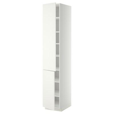 METOD خزانة مرتفعة مع أرفف/بابين, أبيض/Häggeby أبيض, 40x60x220 سم