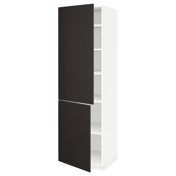 METOD high cabinet with shelves/2 doors white/Kungsbacka anthracite 60.0 cm 61.6 cm 208.0 cm 60.0 cm 200.0 cm