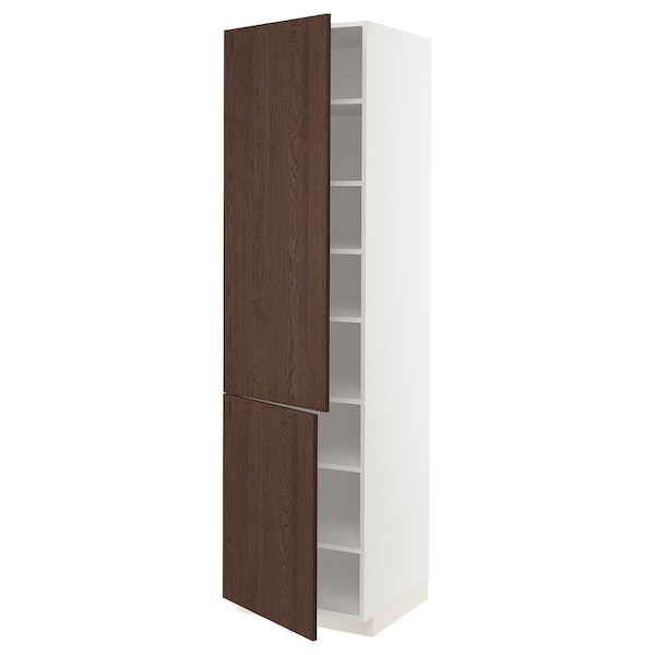 METOD High cabinet with shelves/2 doors, white/Sinarp brown, 60x60x220 cm