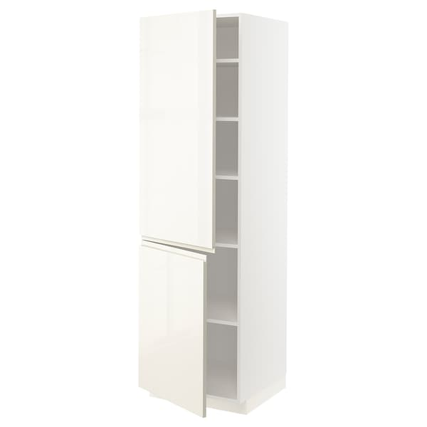 METOD high cabinet with shelves/2 doors white/Voxtorp high-gloss light beige 60.0 cm 62.1 cm 208.0 cm 60.0 cm 200.0 cm