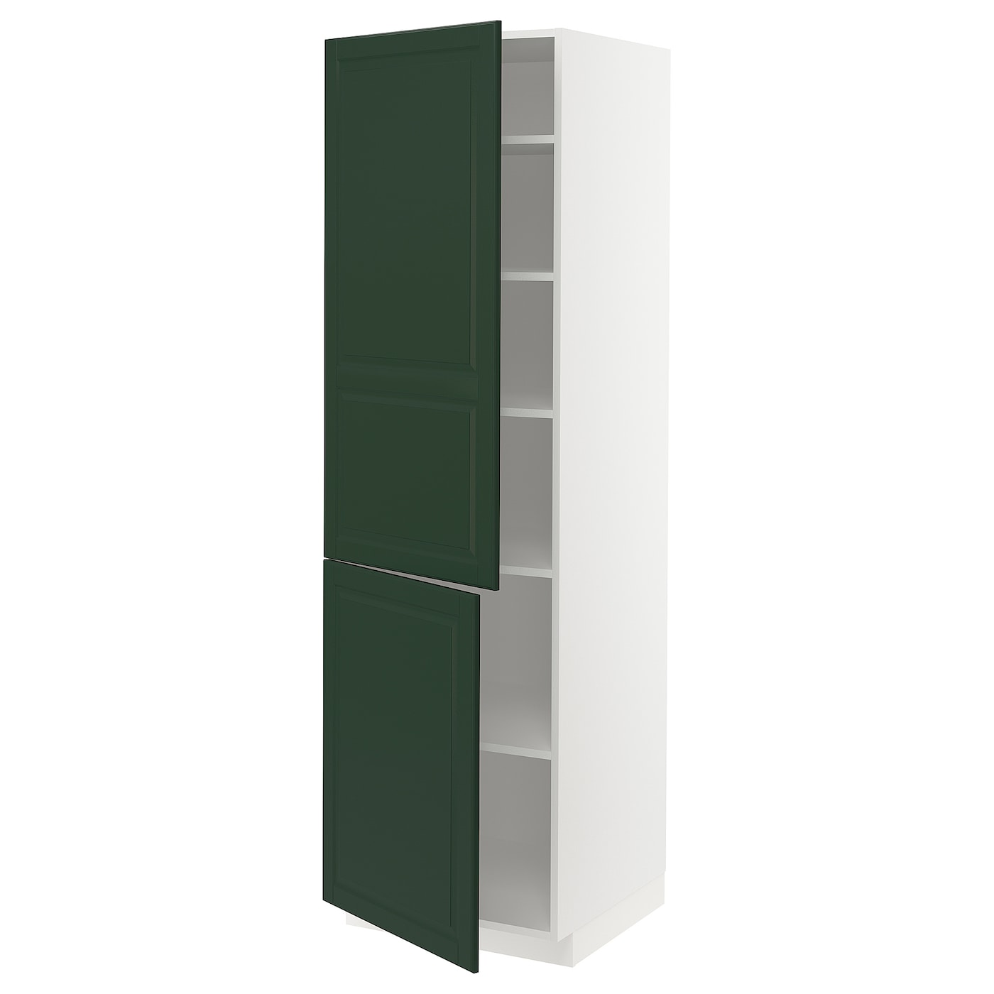 High Cabinet With Shelves 2 Doors Metod White Bodbyn Dark Green