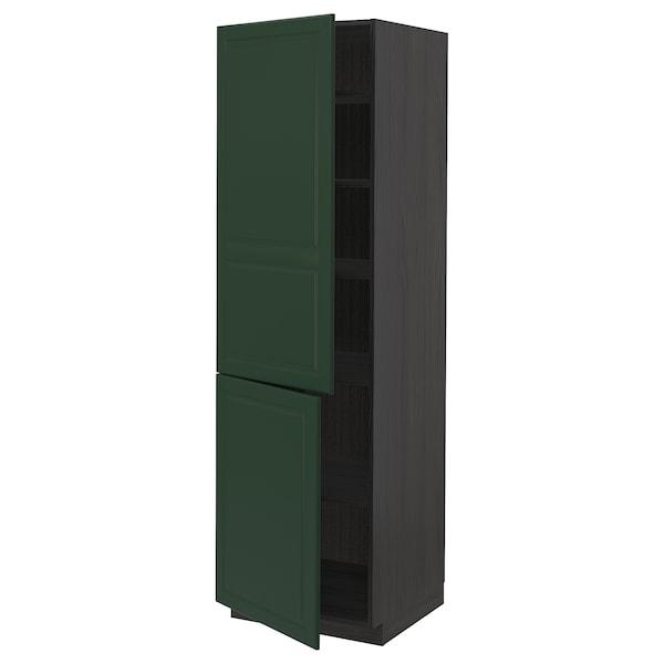 METOD high cabinet with shelves/2 doors black/Bodbyn dark green 60.0 cm 61.9 cm 208.0 cm 60.0 cm 200.0 cm