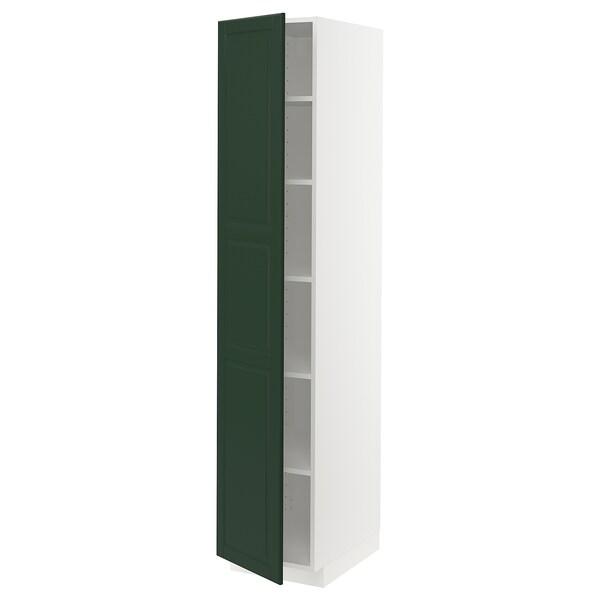 METOD خزانة عالية مع أرفف, أبيض/Bodbyn أخضر غامق, 40x60x200 سم