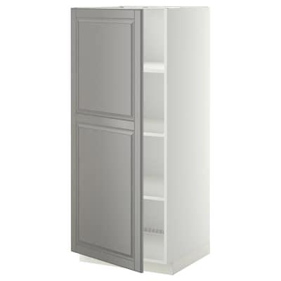 METOD خزانة عالية مع أرفف, أبيض/Bodbyn رمادي, 60x60x140 سم