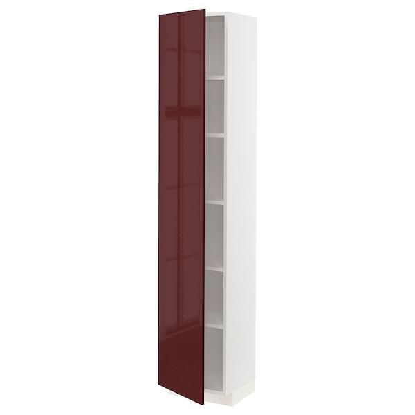 METOD خزانة عالية مع رفوف, أبيض Kallarp/لامع أحمر-بني غامق, 40x37x200 سم