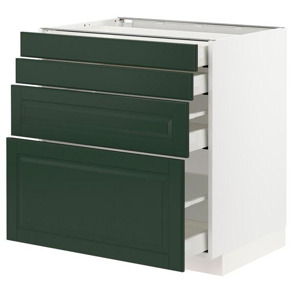 METOD / MAXIMERA خ. قاعدة 4 واجهات/4 أدراج, أبيض/Bodbyn أخضر غامق, 80x60 سم
