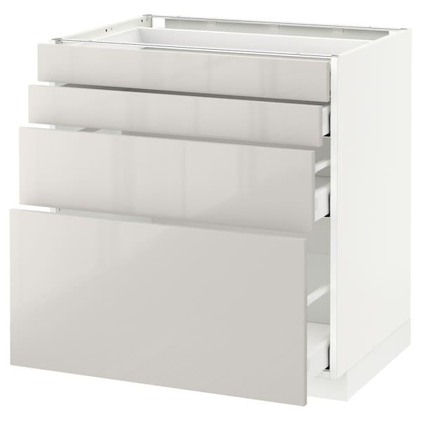 METOD / MAXIMERA خ. قاعدة 4 واجهات/4 أدراج, أبيض/Ringhult رمادي فاتح, 80x60 سم