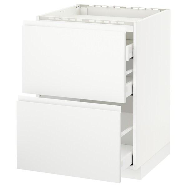 METOD / MAXIMERA خ. قاعدة لموقد/2 واجهات/3 أدراج, أبيض/Voxtorp أبيض مطفي, 60x60 سم
