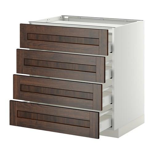 METOD / MAXIMERA خزانة قاعدة لموقد/ 4 واجهات/ 4 أدراج IKEA الأدراج تغلق بهدوء ونعومة بفضل المخمدات المدمجة.