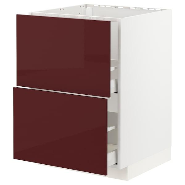 METOD / MAXIMERA base cab f sink+2 fronts/2 drawers white Kallarp/high-gloss dark red-brown 60.0 cm 61.6 cm 88.0 cm 60.0 cm 80.0 cm