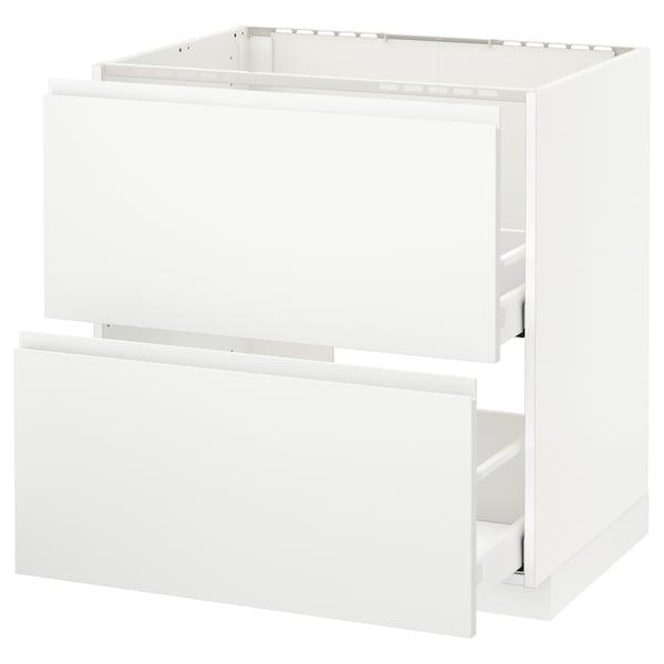 METOD / MAXIMERA Base cab f sink+2 fronts/2 drawers, white/Voxtorp matt white, 80x60 cm